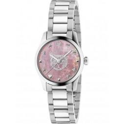 Gucci Ladies G-Timeless Pink Mother of Pearl Cat Motif Bracelet Watch YA1265013
