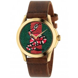 Gucci Mens Gold Plated Snake Brown Leather Strap Watch YA1264012