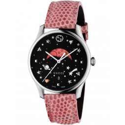 Gucci Mens Moonphase Pink Leather Strap Watch YA1264046