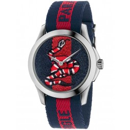 Gucci Mens Snake Blue Red Fabric Strap Watch YA126493