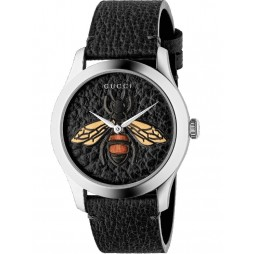 Gucci Unisex G-Timeless Embroidered Black Bee Leather Strap Watch YA1264067