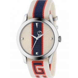 Gucci Mens G-Timeless White Multicolor Fabric Strap Watch YA1264071
