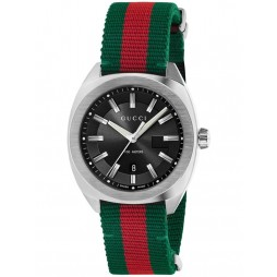 Gucci Mens GG2570 Green And Red Woven Strap Watch YA142305