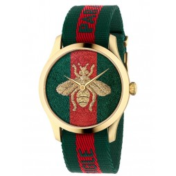 Gucci Mens Le Marche Des Merveilles Gold Plated Bee Motif Multicolour Fabric Strap Watch YA126487A