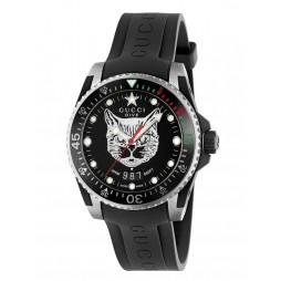 Gucci Dive Feline Black Rubber Strap Watch YA136320