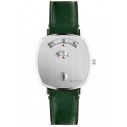Gucci Ladies Grip Stainless Steel Covered Dial Green Leather Strap Watch YA157406