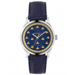 Gucci Ladies G-Timeless Automatic Blue Lapis Gold Bee Motif Leather Strap Watch YA1264122