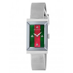 Gucci Ladies G-Frame Stainless Steel Rectangle Mesh Bracelet Watch YA147401