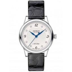 Montblanc Ladies Boheme Automatic Date Diamond Set Dial Black Leather Strap Watch 111055