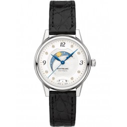 Montblanc Ladies Boheme Day And Night Diamond Set Dial Black Leather Strap Watch 114730