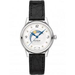 Montblanc Ladies Boheme Day And Night Diamond Set Dial Black Leather Strap Watch 114730