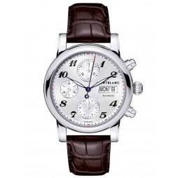Montblanc Mens Star Chronograph Dark Brown Leather Strap Watch 106466