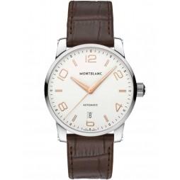 Montblanc Mens Timewalker Brown Leather Strap Watch 110340