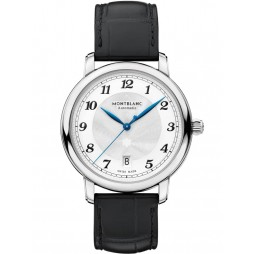 Montblanc Mens Star Legacy Automatic Date Black Leather Strap Watch 116522