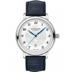 Montblanc Mens Star Legacy Automatic Date Blue Leather Strap Watch 117575