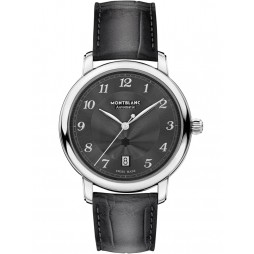 Montblanc Mens Star Legacy Automatic Date Slate Grey Leather Strap Watch 118517
