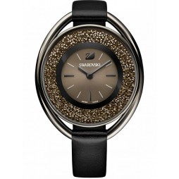 Swarovski Crystalline Oval Silver Tone Black Strap Watch 5158517