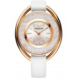 Swarovski Crystalline Oval Rose Gold Tone White Strap Watch 5230946