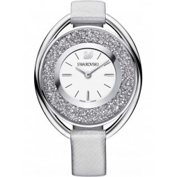Swarovski Crystalline Oval Silver Tone Gray Strap Watch 5263907