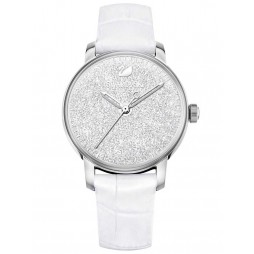 Swarovski Crystalline Hours Silver Tone White Strap Watch 5295383