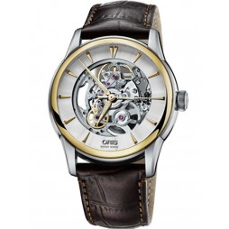 Oris Mens Artelier Skeleton Strap Watch  73476704351-07LS