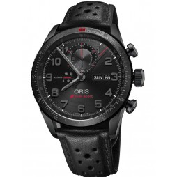 Oris Mens Black Leather Watch 778 7661 7784-SET LS