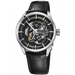 Oris Mens Artix Skeleton Black Leather Strap Watch 734 7714 4054-07 19 81FC