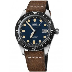 Oris Divers Sixty Five Stainless Steel Brown Leather Strap Watch 733 7720 4055-07 5 21 02