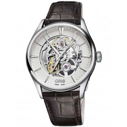 Oris Mens Artelier Skeleton Black Leather Strap Watch 734 7721 4051-07LS