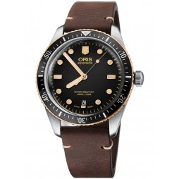 Oris Mens Divers Sixty-Five Brown Leather Strap Watch 733 7707 4354-07 LS