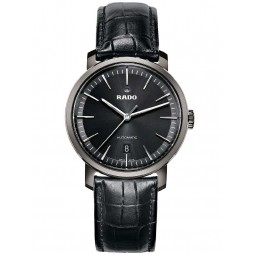 Rado Mens DiaMaster Automatic Black Leather Strap Watch R14074175 XL