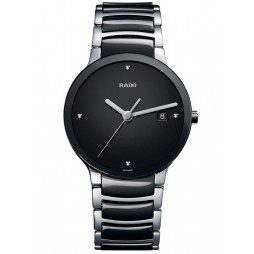 Rado Mens Centrix Diamonds Jubile Quartz Black and Silver Ceramic Bracelet Watch R30934712 L