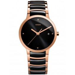 Rado Mens Centrix Diamonds Quartz Black and Rose Ceramic Bracelet Watch R30554712 L