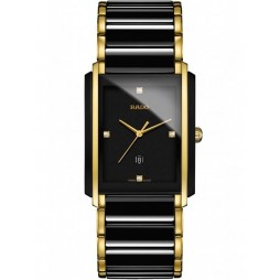 Rado Mens Integral Diamonds Quartz Date Black and Gold Ceramic Bracelet Watch R20204712