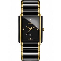 Rado Mens Integral Diamonds Quartz Date Black and Gold Ceramic Bracelet Watch R20204712