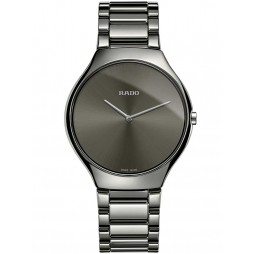 Rado Mens True Thinline Quartz Grey Ceramic Bracelet Watch R27955122 L