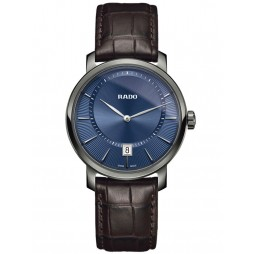 Rado Mens DiaMaster Quartz Brown Leather Strap Watch R14135206