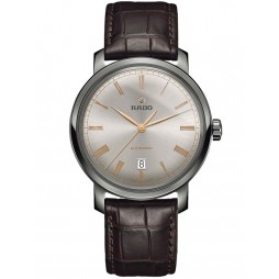 Rado Mens DiaMaster Automatic Brown Leather Strap Watch R14806106
