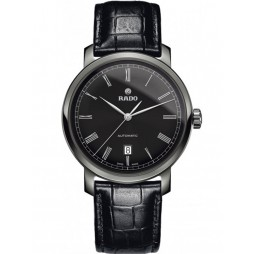 Rado Mens DiaMaster Automatic Black Leather Strap Watch R14806156