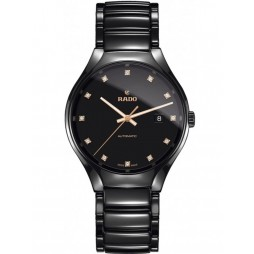 Rado Mens True Diamonds Automatic Black Ceramic Bracelet Watch R27056732