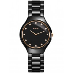Rado Ladies True Thinline Diamonds Quartz Black Ceramic Bracelet Watch R27742722