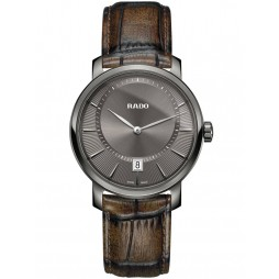 Rado Mens DiaMaster Quartz Brown Leather Strap Watch R14135306