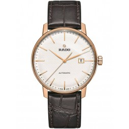Rado Mens Coupole Classic XL Automatic Brown Leather Strap Watch R22877025