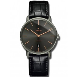 Rado Mens DiaMaster Automatic Thinline Black Leather Strap Watch R14067156