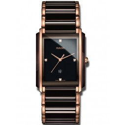 Rado Mens Integral Rose Gold Black Ceramic Bracelet Watch R20219712