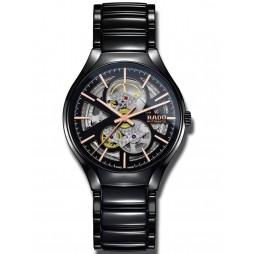 Rado Mens True Black Skeleton Ceramic Bracelet Watch R27100162