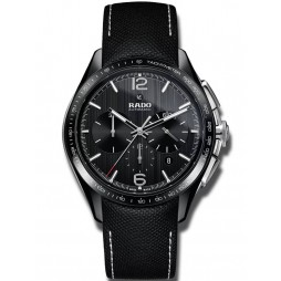 Rado Mens HyperChrome Ceramic Black Leather Strap Watch R32121155
