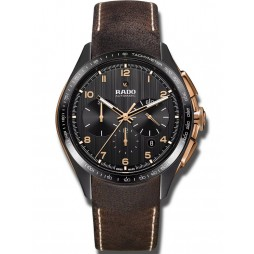 Rado Mens HyperChrome Automatic Chronograph Brown Leather Strap Watch R32168155