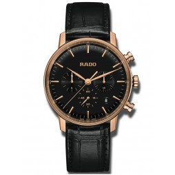Rado Mens Coupole Classic Quartz Chronograph Black Leather Strap Watch R22911165