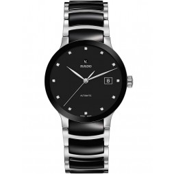 Rado Mens Centrix Diamonds Automatic Black and Silver Ceramic Bracelet Watch R30941752